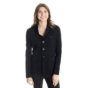 0 Michael Stars Black Military Style Pocket Front Full Sleeve Collared Jacket