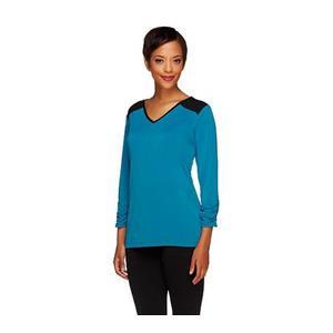 Susan Graver XXS Majestic Blue Liquid Knit 3/4 Sleeve Color-block Top w/Ruching