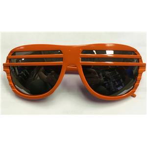 Orange Frame Half Shutter Shades Retro 80s Aviator Style Sunglasses Mirrored len
