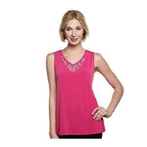 Susan Graver Size 2X Deep Pink Liquid Knit V-neckline Tank w/ Embellishments