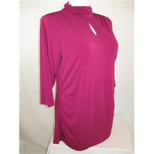 Susan Graver Size 1X Vivid Fuchsia Liquid Knit Mock Neck Keyhole Top