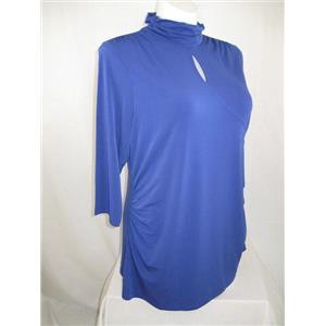 Susan Graver Size 1X Bold Blue Liquid Knit Mock Neck Keyhole Top
