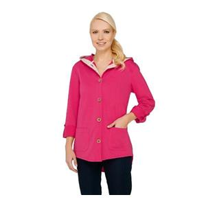 Susan Graver 1X Weekend French Terry Roll Tab Sl Jacket in Rich Fuchsia #A265734
