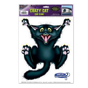 Crazy Cat Backseat Driver Window Car Cling Decal Halloween Party Accessory
