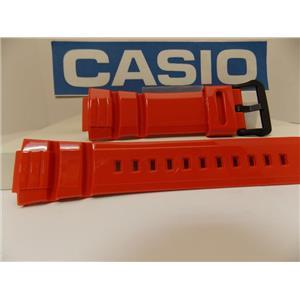 Casio Watch Band WS-220 -4AV Orange Resin Watchband / Strap Black Buckle