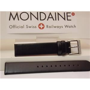 Mondaine Swiss Railways Watch Band FE3116.21Q 16mm Black Leather Strap Red Back