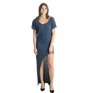 NEW M Stillwater Sonoran Short Sleeve Round Neck Thigh Slit Maxi Dress in Indigo