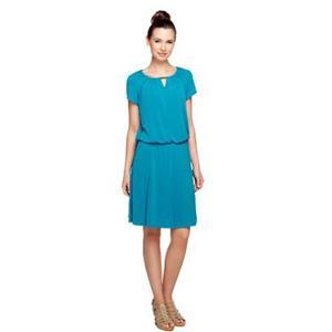 Susan Graver Size 3XP Petite Teal Liquid Knit Romper Dress w/Cap Sleeve
