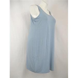 LOGO Luna by Lori Goldstein 1X Colonial Blue Sleeveless Lace Trim Short Gown