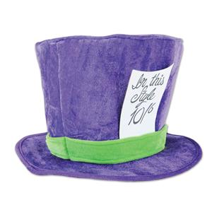 Beistle Plush Purple Mad Hatter Top Hat Costume Accessory