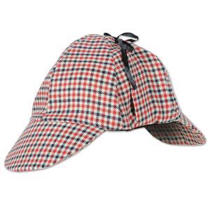 Beistle Tan Black Red Plaid Deerstalker Sherlock Holmes Costume Hat