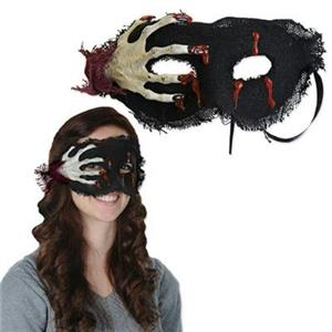 Creepy Skeleton Hand Dripping Blood Burlap Eye Mask Costume Accessory