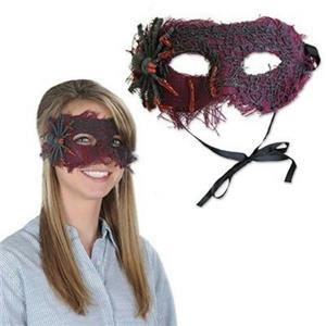 Creepy Spider Dripping Blood Burlap Eye Mask Costume Accessory