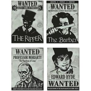 Sherlock Holmes Wanted Sign Cutouts Halloween Wall Door Paper Party Decor