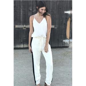 Sz S Karina Grimaldi Ivory Jumpsuit w/Black Beaded Side Stripes Drawstring Waist