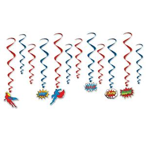 Superhero Party Dangling Whirls Hanging Decorations Red Blue Kaboom Bam Pow