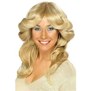 Smiffy's Women's 70's Flick Wig Blonde Long Wavy and Layered
