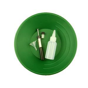 "10"" Green Gold Pan Kit  w/ Bottle Snuffer-Magnet-Vial-Funnel-Mining Panning ***"