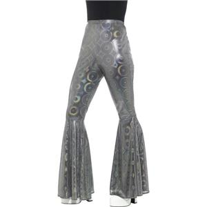Silver Shiny Psychedelic Flared Trousers Elastic Waist Sz S/M Costume Accessory