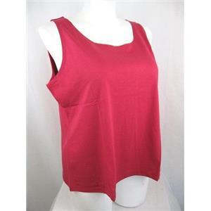 Susan Graver Essentials Size 2X Scarlet Red Liquid Knit Tank with Scoop Neckline