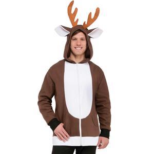 Reindeer Hoodie Jacket Unisex Adult Size Costume