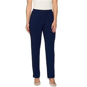 Susan Graver XS Sapphire Dolce Knit Comfort Waist Straight Leg Pull-On Pants