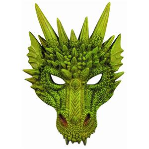 New Green Dragon Adult Dinosaur Latex Half Mask 79488