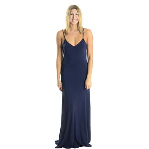 S NWT Authentic Juicy Couture Seamed Maxi Long Dress Regal Navy Blue JG0066600