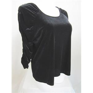 Susan Graver Size XL Black Stretch Velvet U-neck Top with Ruched 3/4 Sleeves