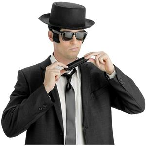 Men's Instant Blues Brothers Accessory Kit (Adult) Hat Harmonica Tie Glasses