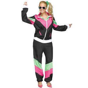 Women's 80's Retro Track Sweat Suit Adult Costume M/L 10-14
