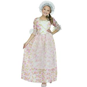 Fun World Girl's Colonial Lady Floral Dress Hat Child Costume Size Medium 8-10