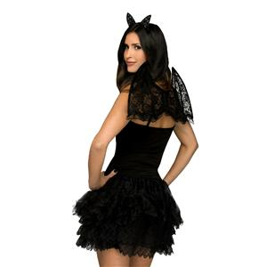 Lacy Black Bat Costume Accessory Kit Headband and Wings