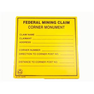"""Lot of 4 Signs""""Federal Mining Claim Corner Monument"""" Prospecting - Property"""