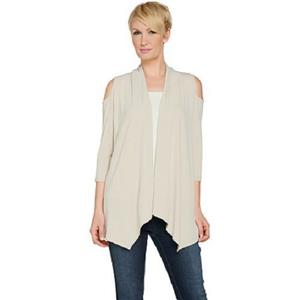 Susan Graver Size 1X Sandstone Liquid Knit Cold Shoulder Cardigan A289154