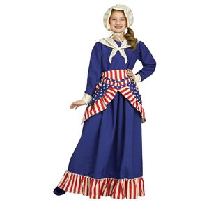 Girls Betsy Ross Historical American Girl Child Costume Small 4-6