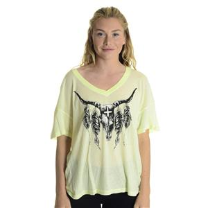 S NWT WILDFOX COUTURE Heat Wave Oversized V-Neck Skull Feathers Top in Sunshine