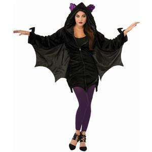 Women's Black Bat Hoodie Zip Jacket With Wings Adult Size Costume