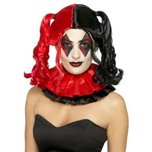 Smiffy's Women's Twisted Harlequin Wig Black and Red Pigtails Harley Quinn