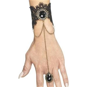 Gothic Bracelet with Attached Ring Black and Gold Costume Jewelry