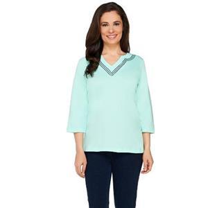 Quacker Factory Size 2X Mint 3/4 Sleeve T-Shirt with Sequin Trim