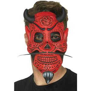 Smiffy's Day of the Dead Red Devil EVA Costume Mask Adult Size