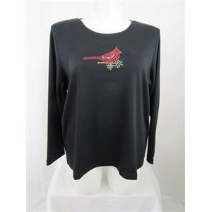 Quacker Factory Size 1X Black w/ Rhinestud Cardinal Long Sleeve T-Shirt
