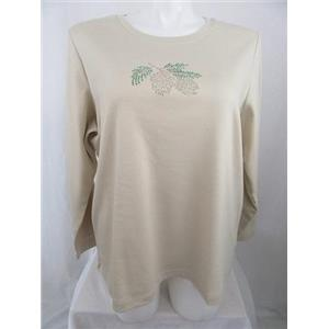 Quacker Factory Size 3X Tan w/ Rhinestud Pinecone Long Sleeve T-Shirt