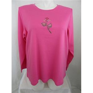 Quacker Factory Size 1X Pink w/ Rhinestud Rose Long Sleeve T-Shirt