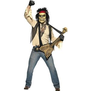 Zombie Rocker Skeleton Adult Dad Costume Bone Guitar and Mask Large
