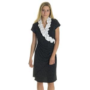 14 NWT Joseph Ribkoff Black White Polkadot Ruffle Neck Polyester Ruched Dress