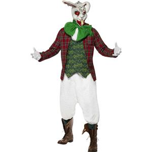 Men's Rabid Rabbit Costume Jacket Top Cravat and Trousers With Mask Size Large