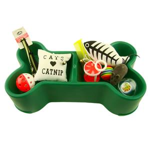 Complete Small Dog or Cat Set GREEN Bowl-Tunnel-Bed-Toys-Brushes-Coller + More