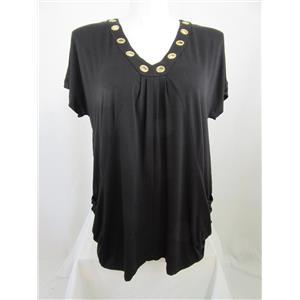 INC International Concepts Woman Size 1X Black V-Neck Tunic w/Metallic Circles